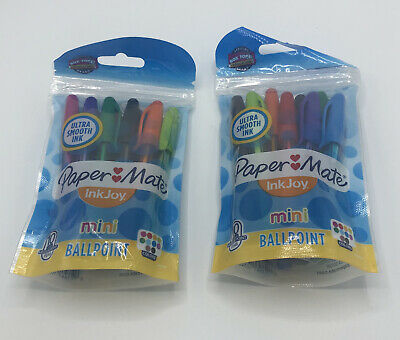 2 Paper Mate Inkjoy Mini Ballpoint Pens 10 Colors Ultra Smooth Ink
