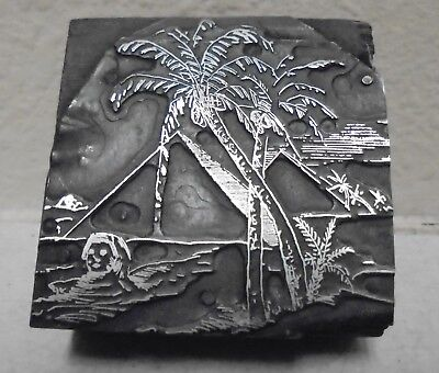 Pyramid And Palm Trees Letterpress Printing Block Vintage