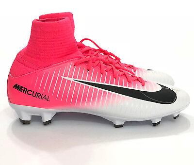 9161a74e2 Nike Mercurial Superfly V FG Soccer Cleats White Pink Sz 4Y Youth  831943-601 NS4