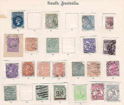 South Australia - mainly QV stamps on part old album pages