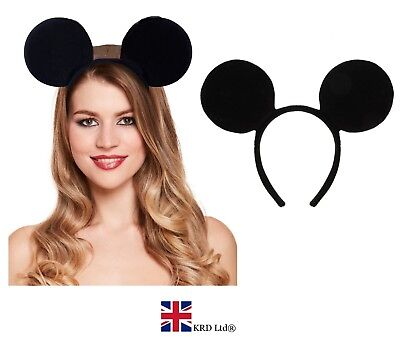 BLACK MOUSE EARS HEADBAND Fancy Dress Spotted Ladies Kids Boys Girls Band NEW UK