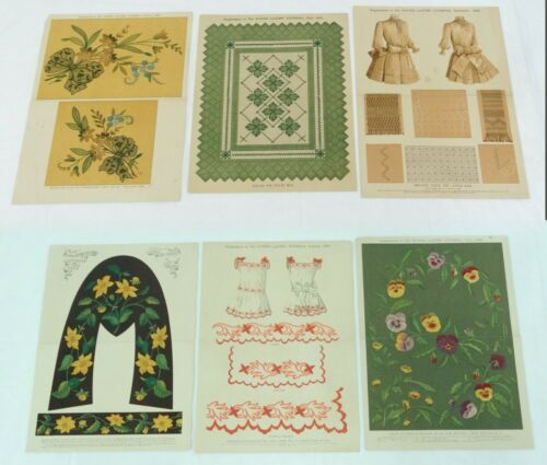 Antique Color Litho Floral Print Pattern Lot of 6 Embroidery Designs Needlework