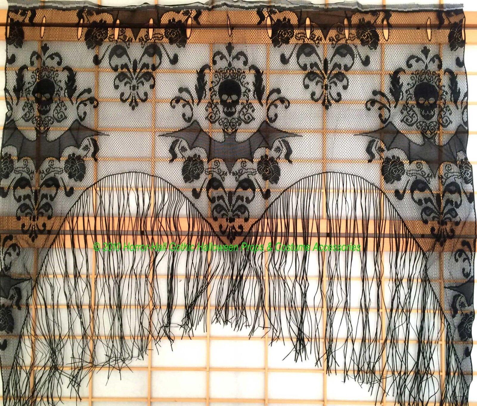 Black Skull Bat Web Curtain Valance Shawl Halloween Decorations Tassel For Sale Ebay