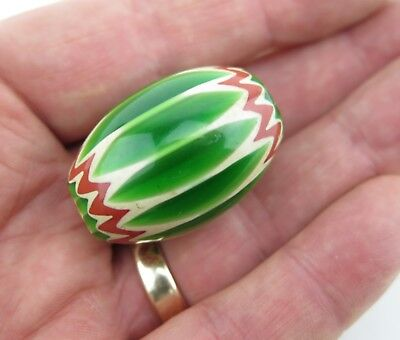 African / North American trade bead. Six layer green chevron bead