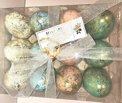 GOLD FOILED SPECKLED EASTER EGGS. BLUE, CORAL, AQUA & WHITE.  BOX 12. 3