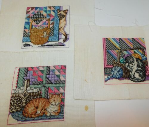 """3 Finished Cross Stitch CATS & QUILTS Sewing Baskets 5 1/2"""""""