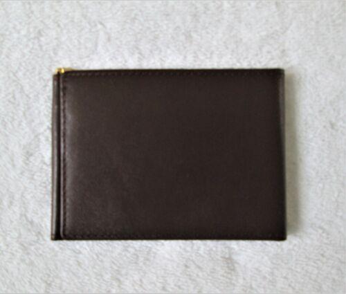 Exeter Ltd Brown Leather Slim Minimalist Spring Money Clip Card Wallet Vintage