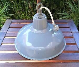 Vintage Industrial Enamel Grey Shade - Benjamin RLM England Golden Grove Tea Tree Gully Area Preview