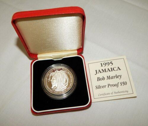 1995 Jamaica Fifty Dollars $50 Bob Marley .925 Silver Proof Coin w/COA