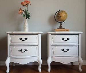 SOLD PPU - Pair of white sidetables