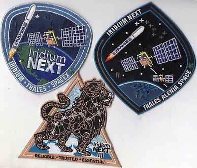 Original VAFB 1ASTS Launched Spacex F9 Iridium-1, 2, & 3 Next Patch Set - 3pcs.