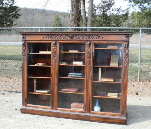 RARE Triple ANTIQUE Victorian OAK NORTHWIND LIBRARY BOOKCASE w/Carved GARGOYLES!