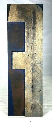 Vintage Wood Letterpress Print Type Printers Block Letter F 10 Patina
