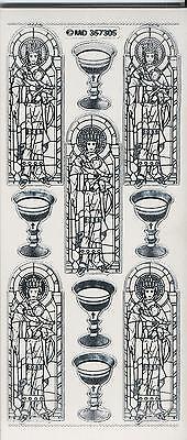Sticker-Bogen-Kirchenfenster/Maria m Kind/Kelch-7305trs