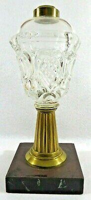 Antique Sandwich Glass Whale Oil Lamp Heart Pattern Brass Marble Base