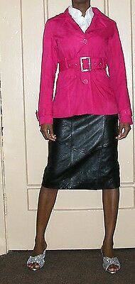 1990s vintage rave fuschia pink cotton belted trench coat jacket size small med