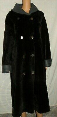 Sylvie Schimmel Brown/Gray Oversized Reversible Shearling Fur Winter Coat 38