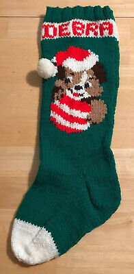 """Vintage Christmas Green Red Hand Knit Puppy Dog PersonalIzed DEBRA Stocking 20"""" ()"""