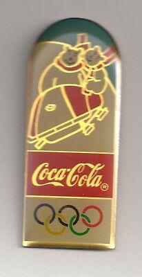 1998 Coca Cola Nagano Olympic Pin Coke Polar Bear Bobsled 1994 Set Large