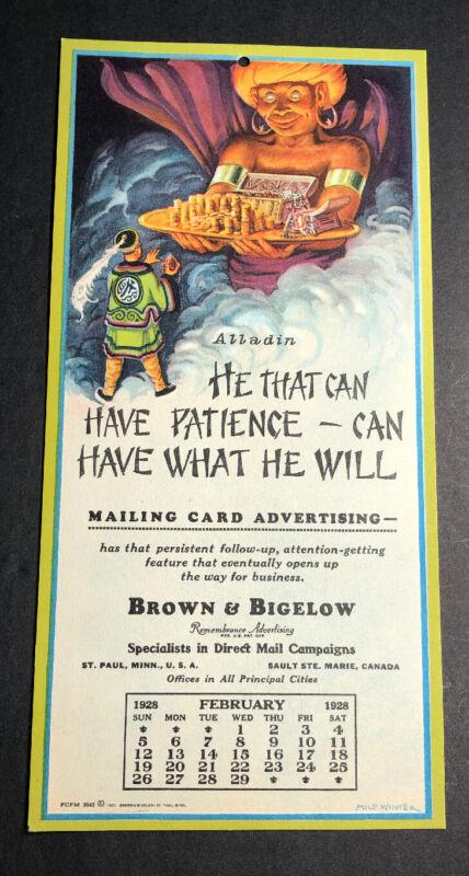 1928 Alladin Oriental Art Advertising Calendar Sign Brown & Bigelow Milo Winter