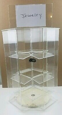 4 Sided Acrylic Jewelry Locking Display Case Counter Top Spinner 16.5 X 12