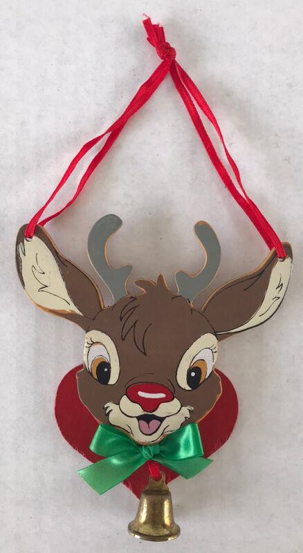 Vintage Rudolph Wood Christmas Ornament Kurt Adler The Red Nosed Reindeer
