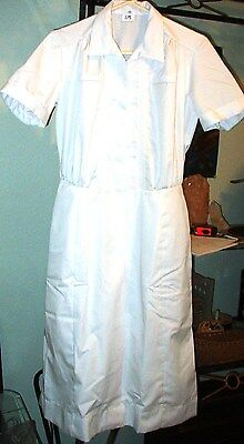 Sale NEW Womens sz 18 Nurse Scrub Dress / Waitress Uniform   White Cotton Blend