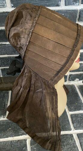Antique Colonial Bonnet Prairie Ladies 1800s Cane & Satin Amazing Piece