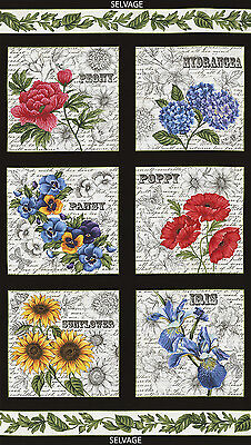 Timeless Treasures Garden Journal Squares 100% cotton fabric by the Panel 24""