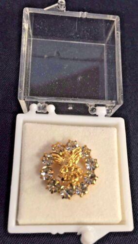Vintage Fraternal Order Of Eagles Clear Rhinestone Lapel Pin Goldtone FOA Shiny