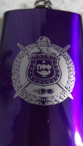 Omega Psi Phi Flask: 8 OZ: Stainless Steel: Laser Engraved Shield!