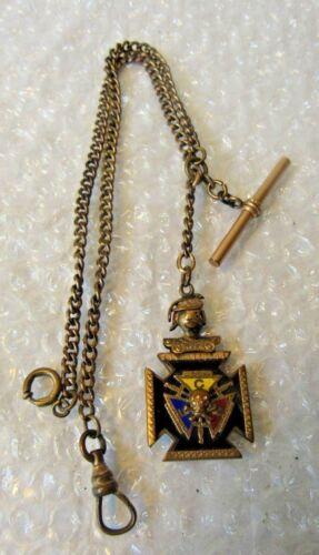 Antique Articulated Enamel KNIGHTS PYTHIAS Watch Fob GF Watch Chain Skull bones