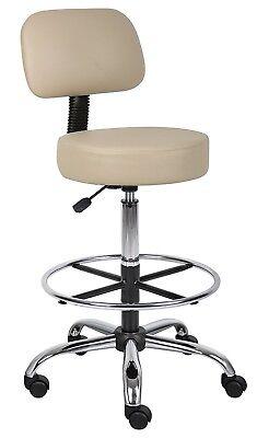 Work Shop Stool Adjustable Padded Seat Backrest Garage Lab Office Chair Bench, used for sale  Warner Robins