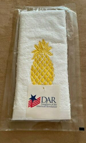 DAR pineapple hand towel New daughters of the american revolution yellow