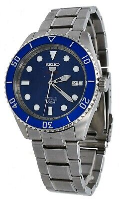 Seiko 5 Sports SRPB89 Men's Stainless Steel Blue Bezel and Dial Automatic Watch