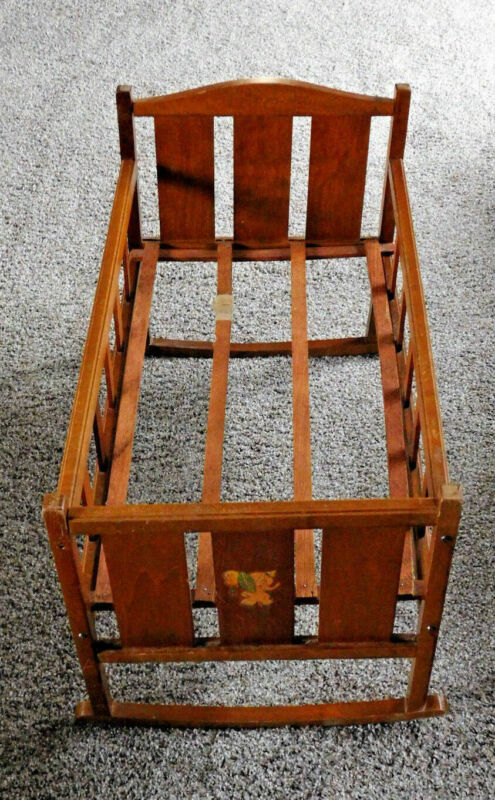 VINTAGE WHITNEY BROS., INC WOODEN BABY CRADLE ROCKER ELEPHANT DECOR
