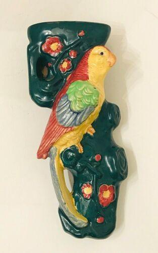Vintage ceramic parrot exotic bird wall pocket majolica style Japan