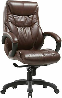 Executive Bonded Leather Chair Lean Forward High Back Padding Ergonomic Seat