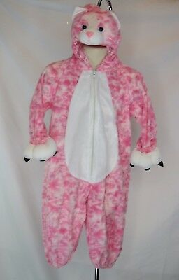 Making Believe Halloween Costume Pink Kitty Cat Sz XS Zip Front White Belly GUC