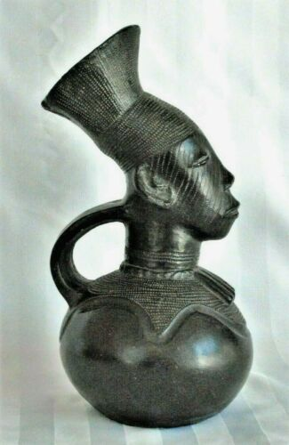Vintage Mangbetu Figural Clay Vessel Pitcher Royal African Tribal Art