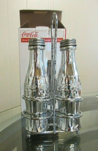 AUTHENTIC SILVER PLATED COCA COLA SALT & PEPPER SHAKERS with METAL RACK. NIB