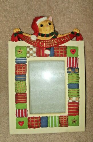 ADORABLE MERRY CHRISTMAS CAT RESIN PICTURE FRAME 6 X 4