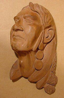 1951 Pipestone Rock Minnesota Aboriginal Native Indian Sculpture of Elder