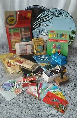 junk drawer lot misc. stamps cards pencils a book crayons mini cassettes