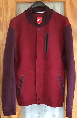 Mens Nike Maroon Red/plum Stretch Jersey Bomber Jacket+Double End Zip Opening XL Nike Stretch Jersey
