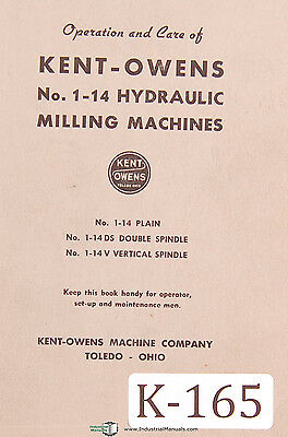 Double Cycle Bed Milling Machine Parts Manual Kent Owens 1-14