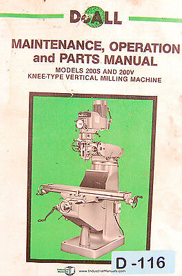 Doall 200s 200v Knee Type Milling Machine Operations Maint Parts Manual