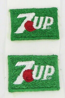 "7-UP SODA - VINTAGE SMALL IRON-ON FABRIC UNIFORM PATCHES - 1.25"" x 1"" - LOT OF 2"