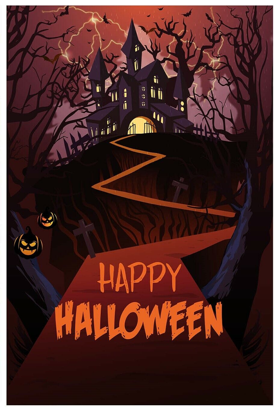 Happy Halloween Garden Flag Outdoor Banner 12x18 2-Sided Hea