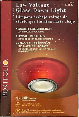 NEW PORTFOLIO #145449 FROSTED RED GLASS DOWN LIGHT LOW VOLTAGE